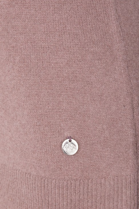 Pull col roule Reaumur Rose Fonce